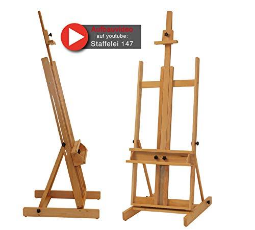 Stabile Studio Staffelei 147 aus FSC® Buchenholz, für Keilrahmen bis 200cm, mit großer Ablage für Malutensilien