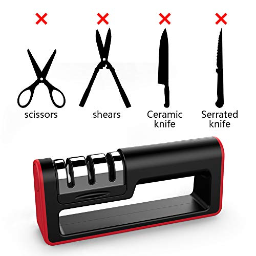 Upgraded Kitchen Knife Sharpener, Ulwae 3-Stage Knife Sharpener to Restore Non-Serrated Knife Blades Quickly, Safely, and Easy to Use for Kitchen, Camping, Hiking and Household Use