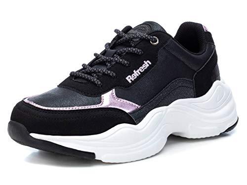 REFRESH - Zapatilla para Mujer - Cierre con Cordones - Color Negro - Talla 37