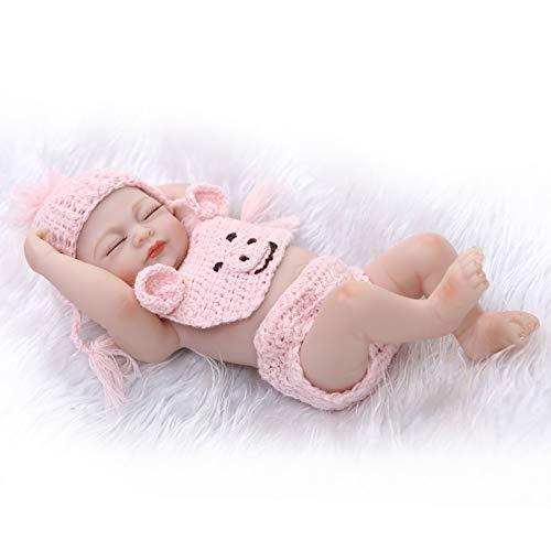HWZZ 26 cm Realistische Schlafende Echte Babypuppe, PVC-Frei, Augen Geschlossen, Ganzkörper-Silikon-Babypuppe, Wie EIN Echtes Kind,26cm