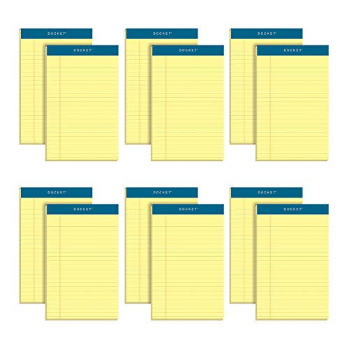 "TOPS Docket Writing Pads, 5"" x 8"", Jr. Legal Rule, Canary Paper, 50 Sheets, 12 Pack (63350)"