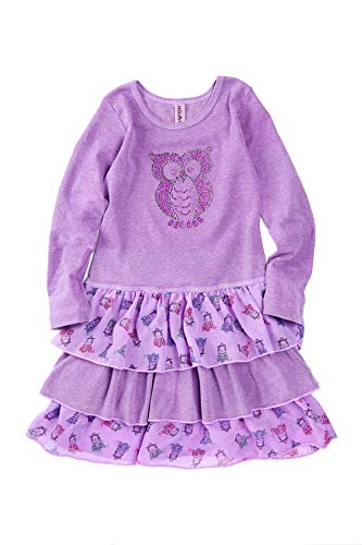 Mignone Girls Dress, Rhinestone, Long Sleeved, Made In USA! (7, Purple Owl)