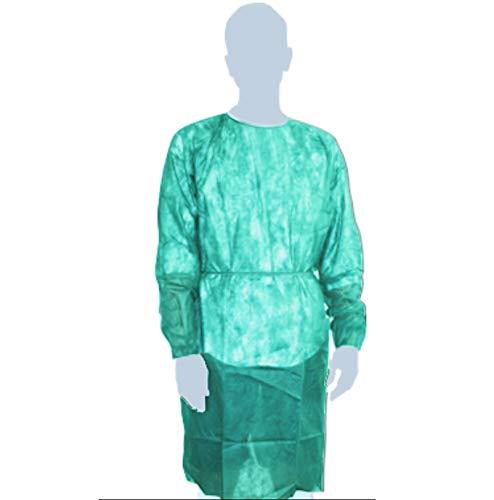 10 CAMICI VEST MEDIC 70 x h. 113 cm. 40 gr. verde chiaro in TNT con polsini elastici camice medico DPI classe I