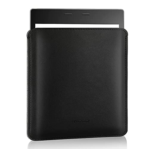 MoKo Sleeve Bag Fits with Kindle Oasis 2017 9th Generation, Kindle Oasis 2019 10th Generation, Ultra Slim Anti-scratch PU Leather Case Cover Soft Felt Lining Protective Insert Carrying Pouch, Black