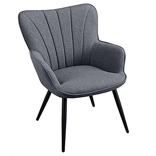 YAHEETECH Ergonomic Accent Chair Armchair Living Room Chair Upholstered Side Chair Leisures Chairs Curved Back Chair Metal Legs Linen Fabric Chair Grey