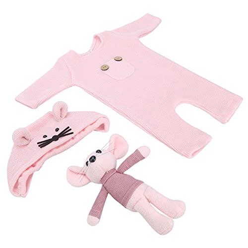 Mamelucos De Fotografía Para Recién Nacidos, Tejidos De Punto De Alta Calidad Traje De Fotografía De Bebé Para Bebé Para Juguete(rosado, Sombrero + muñeca + una pieza)