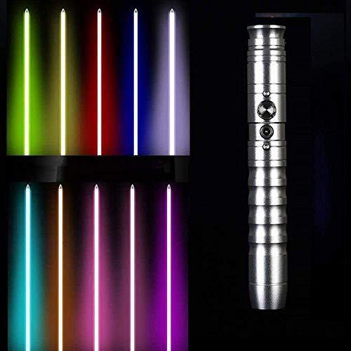MAQRLT Sabre de luz con 11 Colores, 2 Sonidos, LED Recargable USB Espada Luminosa Cosplay Juego de Cosplay, licores de Regalo para Adultos Star Wars LED Gravedad Juguete de Juguete Juguete de Juguete