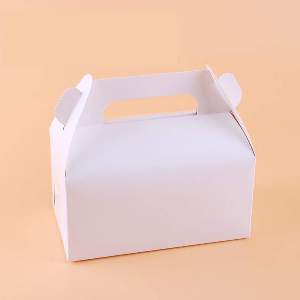 Toyvian cajas de dulces de papel blanco 24 piezas de galletas tratan cajas de cartón con asas cajas de golosinas para meriendas de picnic favores de la fiesta de cumpleaños de la
