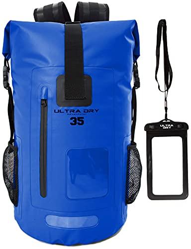 Mochila impermeable de 35 l, con bolsa seca para el teléfono, perfecta para navegar/kayak, senderismo, piragüismo, pesca, rafting, natación, camping, snowboard