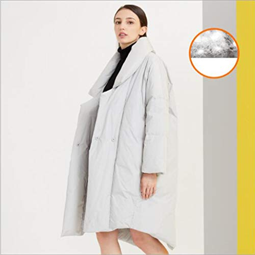 Mid-length donsjack, elegant en stijlvol jasje met brede kraag pak, zak, zip, warm houden, herfst en winter lange mouwen, vrouw, 1pc (Color : Gray, Size : M)