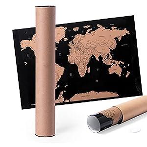 MKTOSASA - Pequeño Mapamundi para Rascar Fabricado en Papel Laminado de 43x28.5cm para los más Viajeros. Incluye un Rascador y Viene Presentado en un Estuche de Cartón de Diseño Ecológico