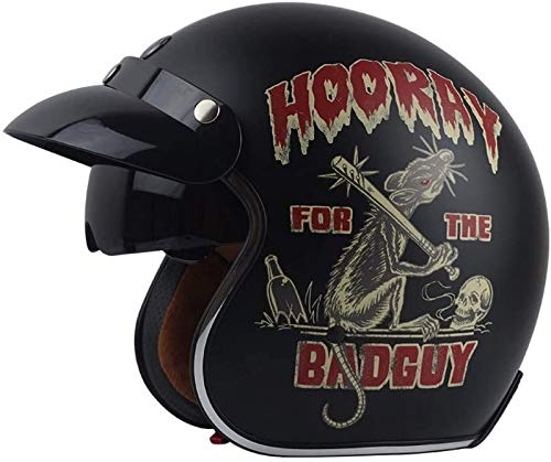 EBAYIN Cascos Half-Helmet Cascos Abiertos Casco de Motocicleta Retro Harley Medio Casco Cruiser Chopper Scooter Piloto Jet Casco 3/4 Adulto Four Seasons Safety Collision Cap,D-XL(61~62cm)