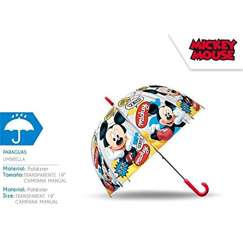 Mickey Mouse Paraguas Transparente Campana 48cm Manual Acampada y Senderismo Infantil, Juventud Unisex, Multicolor (Multicolor), Talla Única