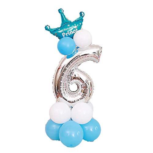 JinSu 6 Años Plata Decoracion Globos de Cumpleaños para Niño Niña, 14 PCS con Cumpleaños Globos Numero 6, Globos de Crown y Globos de Látex