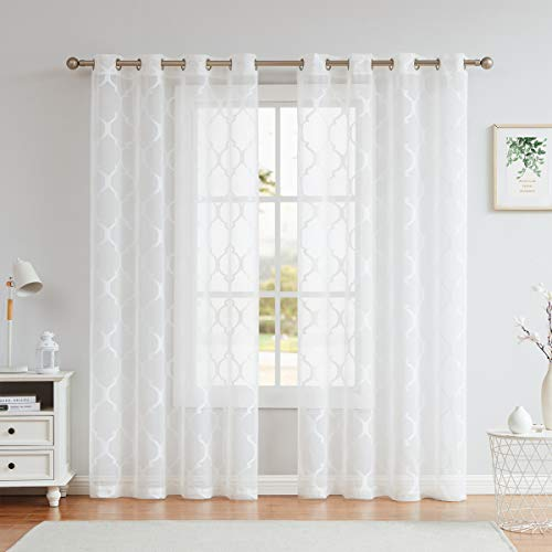 """White Sheer Curtains 84 Inches Long for Living Room Bedroom, Light Filtering Moroccan Jacquard Voile Drapes, Grommet Top Window Treatments 54"""" W 2 Panels Sets"""