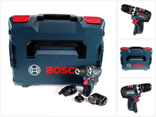 Bosch Professional 06019H3003 12V Akkuschrauber GSR 12V-35 FC (ohne Akku, System, inkl. 4 FlexiClick Aufsätzen, Bohr∅ Holz/Stahl: 32/10 mm, in L-BOXX), 12 V, blau