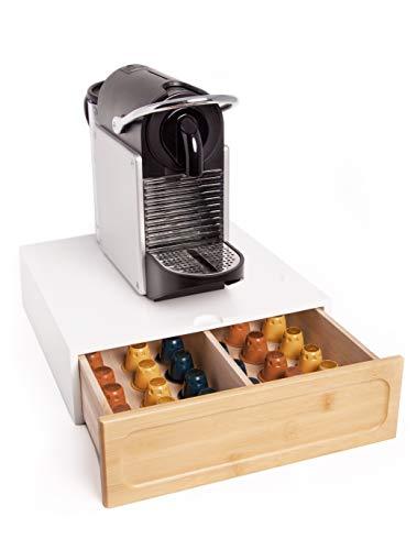 Cassetto Porta Capsule Nespresso Dolce Gusto - Contenitore in Legno di Pino e Bambù per Accessori Caffè - Ideale per Casa e Ufficio (Bianco)