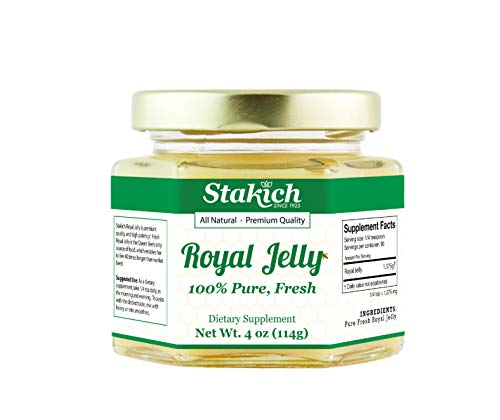Stakich Fresh Royal Jelly - Pure, All Natural - No Additives/Flavors/Preservatives Added - 4 Ounce (114 Gram)