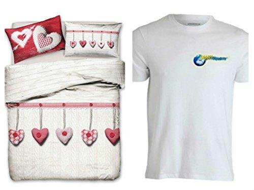 Smartsupershop Housse de couette avec taies d'oreiller pour lit double 250 x 200 cm – Coeur suspendu rouge – T-shirt Staff Gratis – en coton fabriqué en Italie