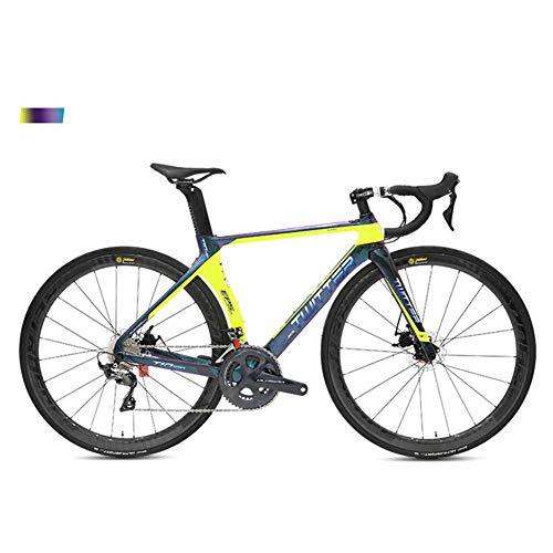 BIKERISK Bicicletta da Strada in Fibra di Carbonio a Doppio Freno a Disco da Corsa su Strada R8000 Bicicletta a 22 velocità scolorimento Ruota in Carbonio T10pro,2,54cm