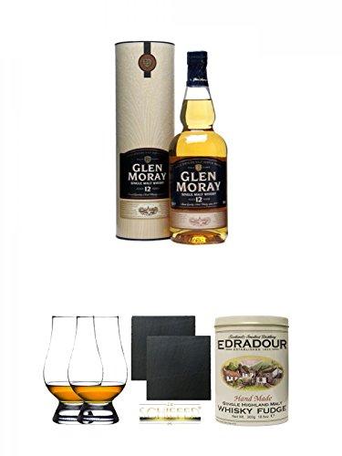 Glen Moray 12 Jahre Single Malt Whisky 0,7 Liter + The Glencairn Glass Whisky Glas Stölzle 2 Stück + Schiefer Glasuntersetzer eckig ca. 9,5 cm Ø 2 Stück + Edradour Malt Whisky Fudge in Blechdose 300g