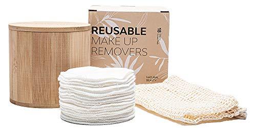 Discos desmaquillantes reutilizables - 18 algodones discos desmaquillantes reutilizables ecologicos Incluye Bolsa de Lavandería y Tarro de Almacenamiento de lujo