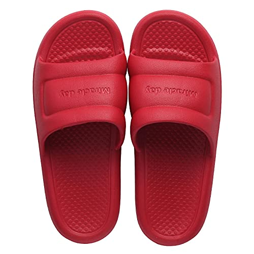 NUGKPRT ciabatte infradito,Summer Home Slides Minimalist Bathroom Non-Slip Thick-Soled Men Women Couples Shoes Bathing Home Slippers 42-43 red