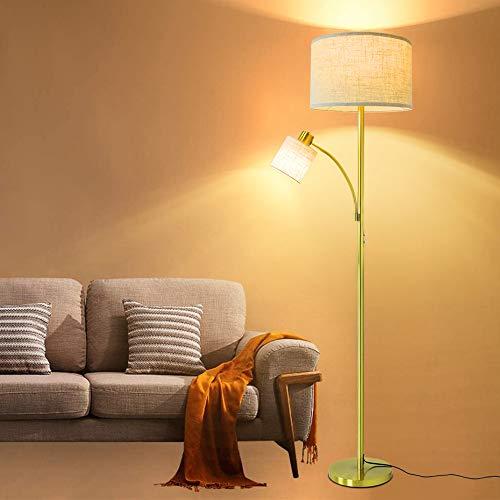 Depuley - Lámpara de pie de 2 cabezas para madre e hijo, 3000 K, luz blanca cálida, hierro dorado, lámpara de pie para leer, para salón, dormitorio, oficina, luz moderna con 2 bombillas LED E27