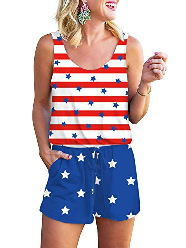 Womens Summer Sleeveless Tank Top Short Pants Jumpsuit Cami Romper 3D Vertical Stripes Flag American Independence Day Printed Casual Crewneck Beach Playsuit Elastic Waist Drawstring With Pockets