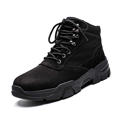 MINGDIAN Men's High-top Breathable Casual Hiking Shoes, Stylish Jogging Shoes - Stability and Grip, Best for Travel Hiking (Color : Black, Size : 7.5 UK)
