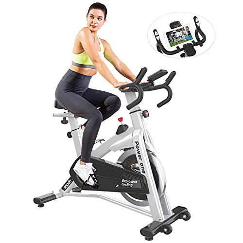 SNODE Indoor Cycling Bike Stationary, Exercise Bike with 35lbs Flywheel, Adjustable Seat Cushion,...