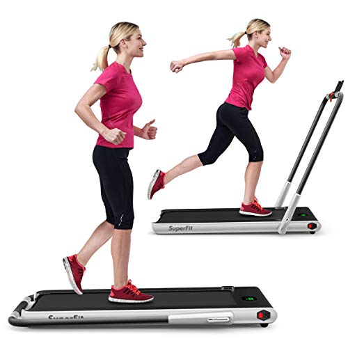 GYMAX Folding Treadmill, 2 in 1 Under Desk Electric Running Machine with Bluetooth & LED Screen,...