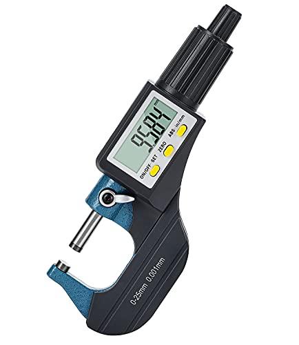 Mxmoonfree Micrómetro exterior digital 0,001 mm/0,00005' | 0-25 mm/1' grande pantalla LCD portátil herramientas de medición de espesor electrónicas medidores de espesor pulgadas / métrica