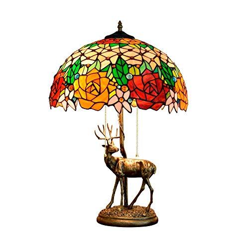 BINGFANG-W Dormitorio 16 Pulgadas de América Habitaciones Estilo Elk Base Rose del Vidrio Manchado de Estar Restaurante Bar de Noche Dormitorio lámpara de Mesa Lámparas de Tabla Lámpara de Mesa