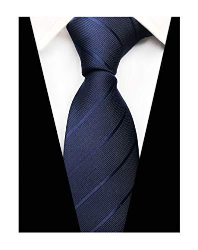 Men Italian Skinny Striped Silk Ties Elegant Textured Solid Necktie in Navy Blue