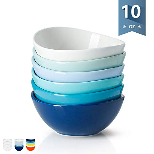 Porcelain Bowls - 10 Ounce for Ice Cream - Set of 6