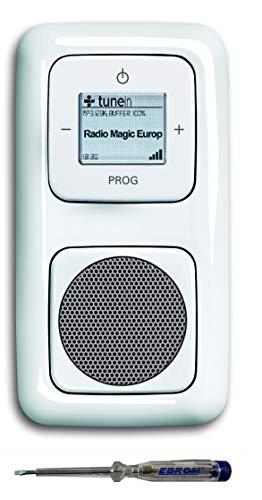 Busch Jäger Unterputz UP WLAN iNet Internetradio 8216 U (8216U) alpinweiß Komplett-Set Reflex SI/Radio + Lautsprecher + 2fach Rahmen + Abdeckungen + EBROM Phasenprüfer zur Montage des Radios