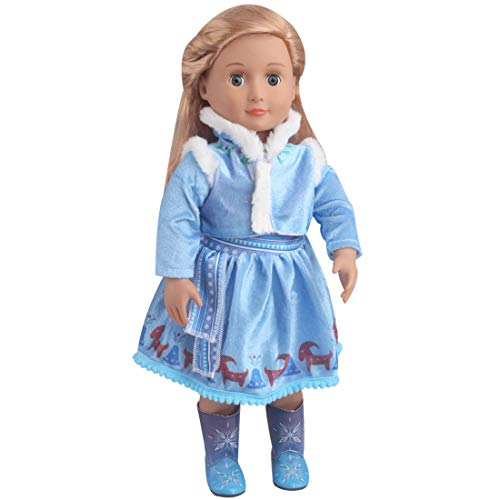 TianBo 18 Inch Doll Clothes Princess Elsa Frozen Inspired Dress Set for 18 Inch American Girl Doll Clothes (Colour-B)