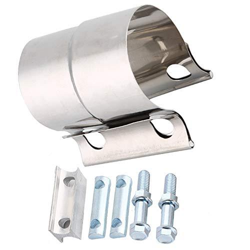 Suuonee Abrazadera de tubo de escape, abrazadera universal de tubo de escape de acero inoxidable Abrazadera de banda de junta de regazo (2 pulgadas)