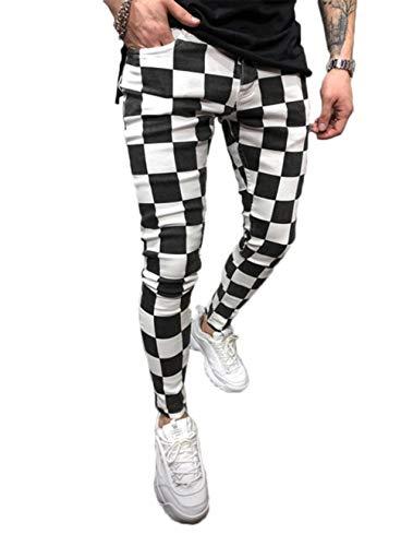Shawnlen Männer beiläufige dünne Hose Slim Fit Track Pants gestreifte Karierte Trainingsanzug Bottoms Jogger Hose (S, Plaid)