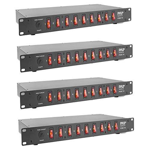 Pyle PDBC70 15 Amp 1800VA Rack Mountable PDU Power Supply Power Strip Surge Protector Extension Cord Plug Strip with 9 Front Switch Outlets and AC Noise Filter (4 Pack)