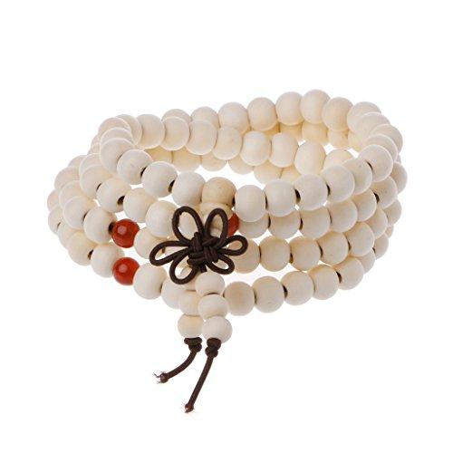 ForHe Natural Sandalwood 8mm Beads Bracelets 108 Wood Beads Buddha Prayer Jewelry (Beige)
