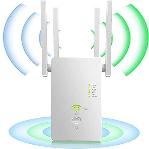 YiYunTE Repetidor WiFi Amplificador Señal WiFi 1200Mbps Extensor Red WiFi 2.4GHz 5GHz Extender WiFi Inalámbrico 4 Antenas Externas Punto Acceso Repeater WiFi Booster Modo Ap Enrutador WiFi Botón WPS