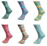 Paquete de 6 ovillos de lana merino de 100 g para calcetines 2021 #1, 600 g de lana para calcetines sin mulesing