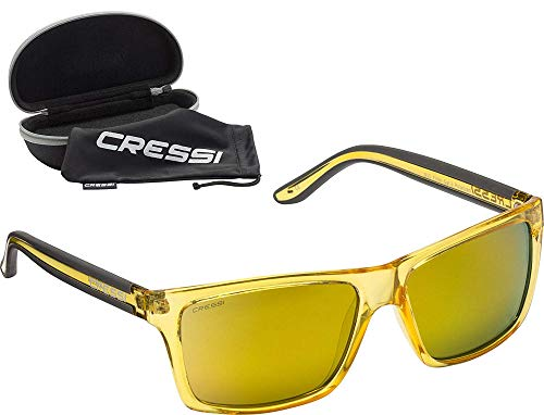 Cressi Rio Sunglasses Gafas de Sol Deportivo Polarizados, Unisex Adultos, Crystal Amarillo/Lentes Espejadas Amarillo, Talla única