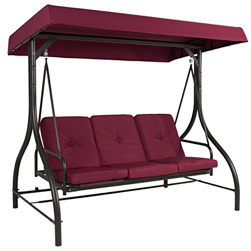 Red 3 Persons Outdoor Cushion Convertible Canopy Porch Swing Bench Glider Hammock Patio Yard Backyard Garden Pool Side Furniture Polyester and Durable Steel Frame Great Piece for Summer Relaxation
