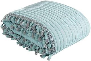 Eurofirany Mooie sprei, doorgestikte deken, 170 x 210 cm, 220 x 240 cm, Kendal grijs blauw mint, franjes sprei (mint, 170 ...