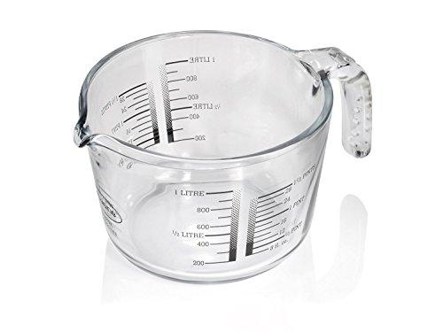 Hillfield Pyrex Arcuisine Messbecher Rührschüssel 1 Liter SCHWARZ Dosierhilfe Messkrug Glas Liter Pint