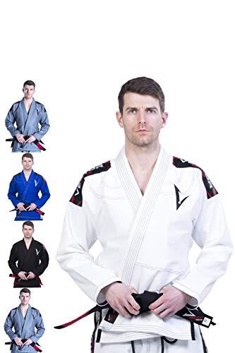 VECTOR SPORTS Brasilianisches BJJ Gi Jiu Jitsu für Männer Frauen Grappling Uniform Ultraleichte Hosen Hosenjacken Vorgeschrumpftes Perlengewebe 100% Baumwoll Stoff Attila Series Free Belt (Weiß, A2)