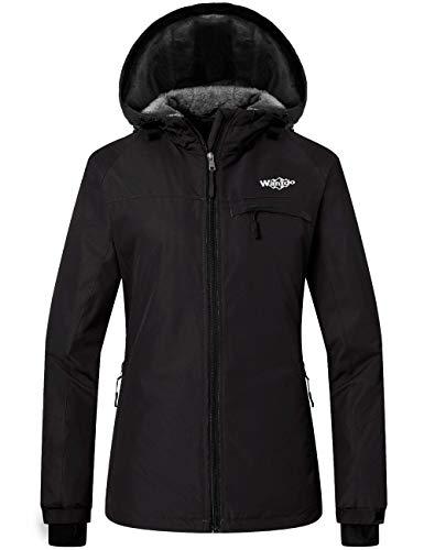 Wantdo Women's Hooded Skiing Jacket Mountaineering Insulated Rainwear Black S